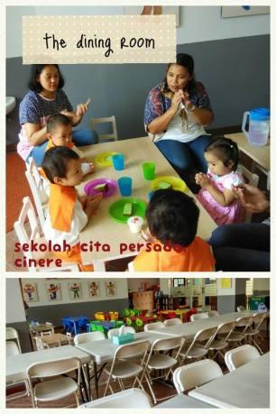 ruang makan yang berhadapan langsung sama taman & playground